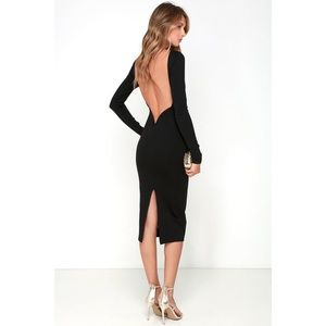 LULUS VA VA VOOM BLACK BACKLESS MIDI DRESS